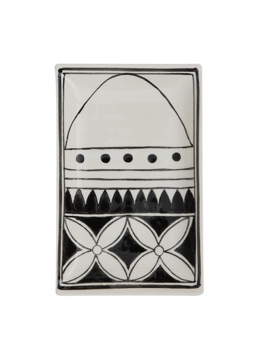 Warm Design Hand-Painted Seramik Siyah Desenli Tabak (c) Beyaz